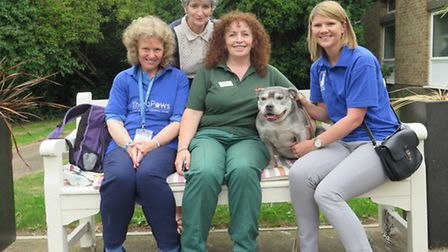 Jane, Marianne, Mary, and Charlie with Lola who now helps Mayhew Animal Home with its pet therapy pr