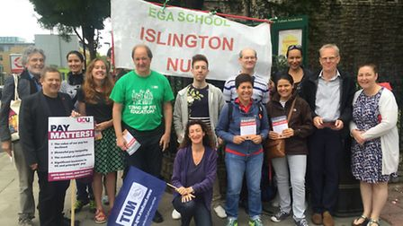 Islington teachers on the picket line today after the NUT staged a walk out