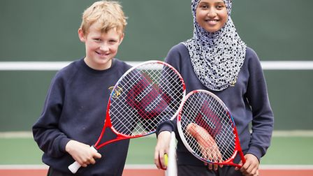 Pakeman primary school pupils test out the new courts
