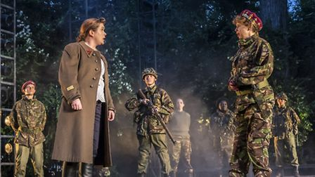 Jessica Regan and Michelle Terry as Montjoy and King Henry. Picture: Johan Persson