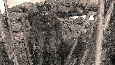 Sgt Hember in a trench on the Western Front, 1915/16