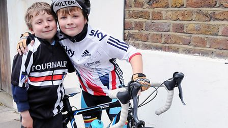 Islington cyclist Alfie Earl, 8 (right) with his brother Ivan