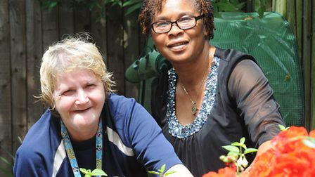 Service user Anna (L) with Celia from St Martin of Tours Islington (Picture: Islington Council)