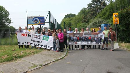 Roe Green Village campaigners outside Kingsbury High School where there are plans for commercial foo