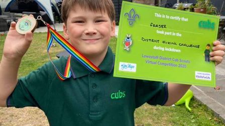 Some of the successful cub scouts from across the Lowestoft district who all completed a Hiking Chal