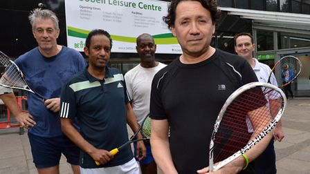 Members of the Britannia Squash Club outside the the Sobell Leisure Centre. From left Richard Noble,
