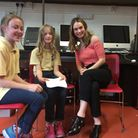 Lily James was interviewed by 9-year-old pupil journalists Charlotte, left, and Ivy