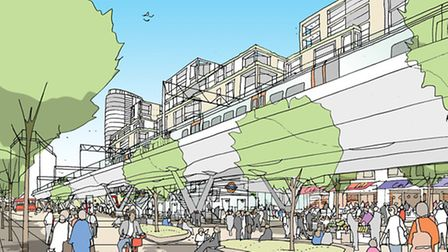 Artist sketch of the proposed central square (Pic: Old Oak Park)