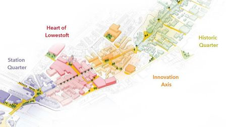 The four areas of the Lowestoft Masterplan. Picture: EAST SUFFOLK COUNCIL