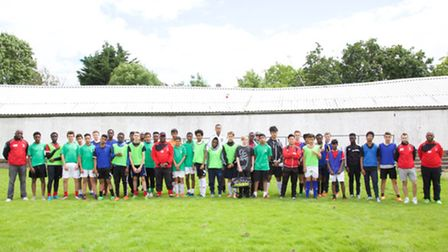 Forest United teams and coaches protesting about potential acquisition of their playing fields. Pic