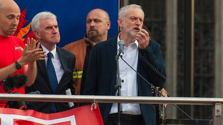 """Labour leader Jeremy Corbyn speaks in Parliament Square at the """"Keep Corbyn"""" demonstration. Picture:"""