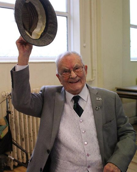 Fred Hodge celebrating his 100th birthday in March with a big party at the Ascension Church in Wembl