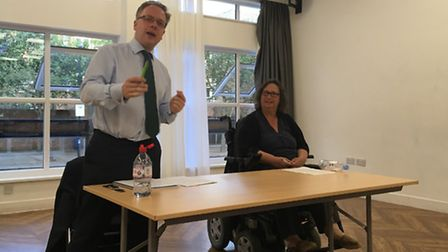 Islington Council leader Richard Watts at last night's leader's questions session in the Jean Stokes