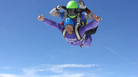Tracey and Angel complete their skydive (Picture: Tracey Palmer)