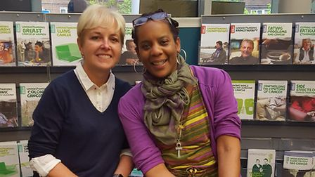 Tracey Palmer, Macmillan information and support manager at The Whittington Hospital, and Angel Bell