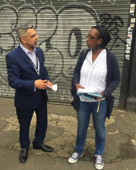 Cllr Muhammed Butt with Fiona Mulaisho, chairwoman of Kensal Rise Residents' Association on a walk a
