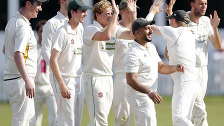 North London players celebrate a wicket from Jordan Gregory in their five-run win against Brentham.