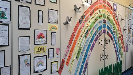 The 'Rainbow of Hope' on display at Gunton Primary Academy in Lowestoft as children's messages and p