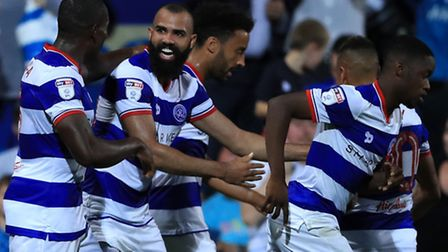 QPR midfielder Sandro (second from left) celebrates the first of his two goals in the EFL Cup victor