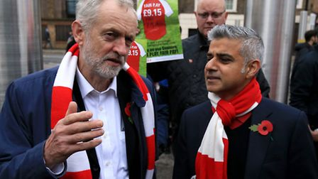 Labour leader Jeremy Corbyn with Sadiq Khan, then a candidate for London mayor, on a London living w