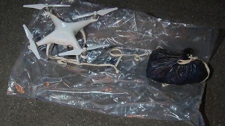 A drone and drug stash recovered from outside Pentonville Prison