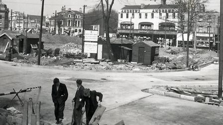 Highbury Corner work in 1958. Picture: Islington Local History Centre
