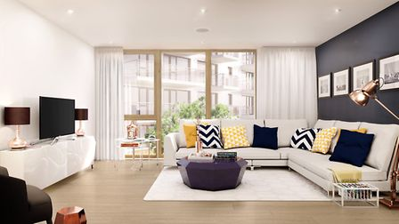 A reception room at the new Canonbury Cross development