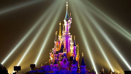 The late night laser show at the Dream Castle, Disneyland Paris