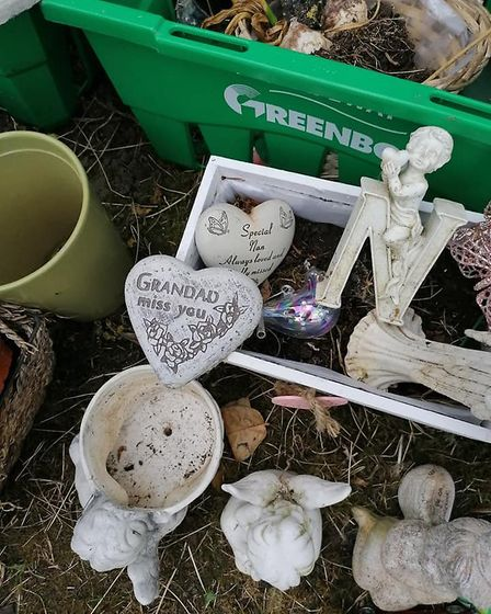 A selection of personal items removed from graves in St Edmund's Church, Kessingland. Residents have