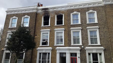 The second floor flat in Crowland Terrace, Canonbury, was decimated by the blaze. Picture: James Mor