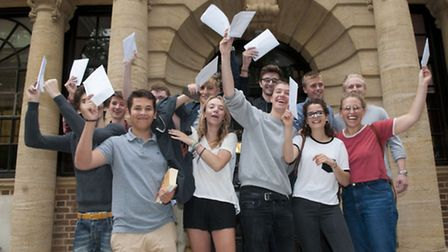 Students celebrate their results last year. Picture: Nigel Sutton