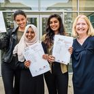 Jasmine Hussain, Seema Ahmed and Masuma Aktar celebrate their results at Highbury Fields School with