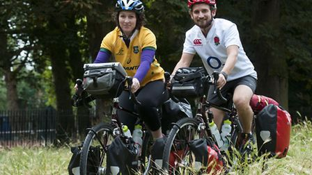 Meg Lloyd and Ollie Roffey are cycling from Highbury Fields to Australia. Picture: Nigel Sutton