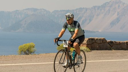 David Shannon, of Islington Cycling Club, riding at Crater Lake in Oregon. Picture: Brian Gailey