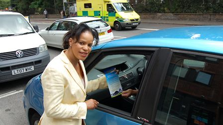 """Cllr Claudia Webbe pictured two years ago on a """"switch off your engine"""" campaign"""