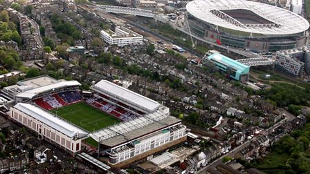 An aerial view of Highbury and the Emirates Stadium in May 2006, when Arsenal played their last game