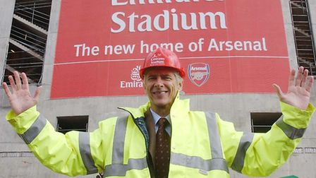 Arsenal manager Arsene Wenger at the site of the new Emirates Stadium in 2006. Picture: Sean Dempsey