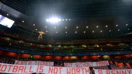 Bayern Munich fans protested at Arsenal's ticket prices in October last year. Picture: Adam Davy/PA