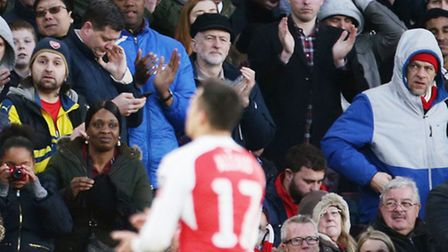 Labour leader and Islington North MP Jeremy Corbyn applauds Arsenal's Alexis Sanchez off the Emirate
