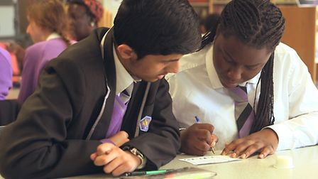 Two students studying at the after school club