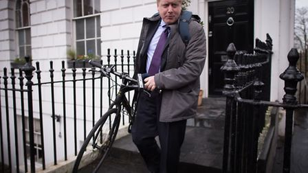 Boris Johnson outside his home in Islington earlier this year. Picture: Stefan Rousseau/PA