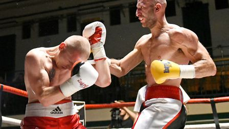 Tony Milch (right) in action against Konstantin Alexandrov at York Hall. Pic: Philip Sharkey/TGS Pho