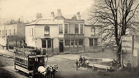 Archway Tavern and an early tramcar in 1872. (Picture: Islington Local History Centre).