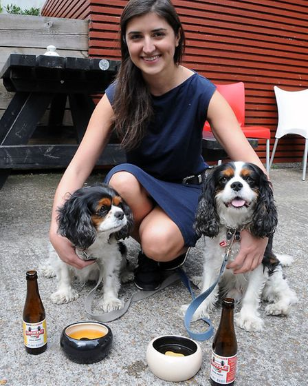 The Brownswood pub, where beer is served to dogs. Neg Bagherzadeh is pictured with her two King Char