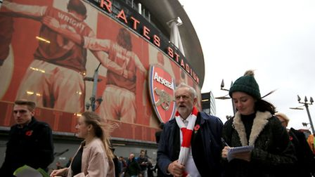 Labour leader and Islington North MP Jeremy Corbyn outside the Emirates Stadium before Arsenal's gam