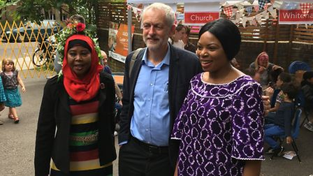 Jeremy Corbyn enjoys Hillrise Summer Festival in Archway this afternoon. Picture: James Morris