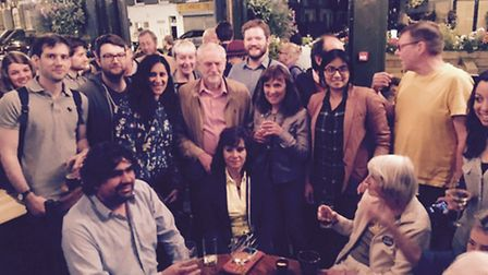 """Jeremy Corbyn posted this picture with supporters on social media last night, saying: """"Proud to be n"""