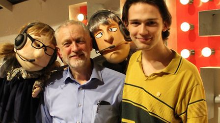 Jeremy Corbyn with Alex Hope and puppets at Park Theatre's production of Rapunzel in December. Pictu