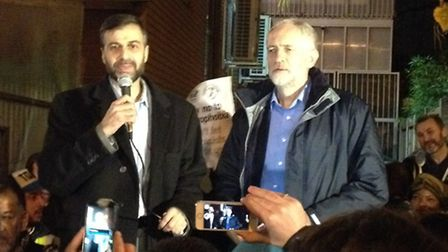 Finsbury Park Mosque chairman Mohammed Kozbar introduces Jeremy Corbyn at an anti-hate crime vigil i