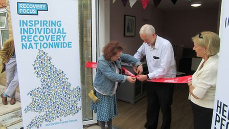 Jeremy Corbyn cuts the ribbon to officially open the refurbished St George's Care Home in Holloway i